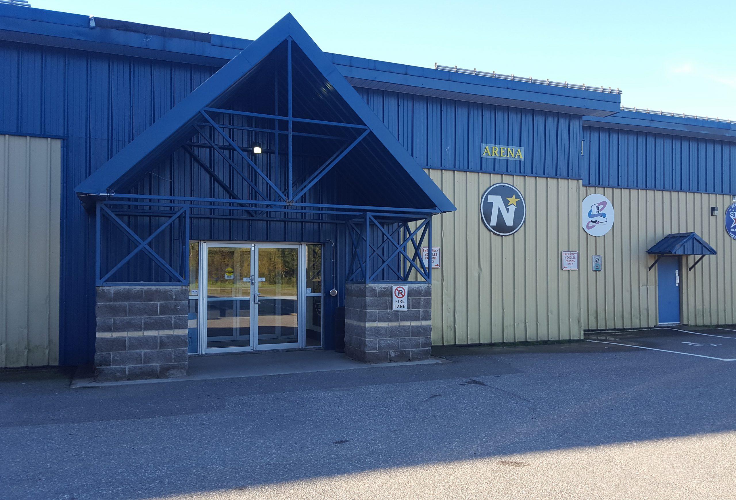 Schreiber arena, Metal building with glass door for entrance