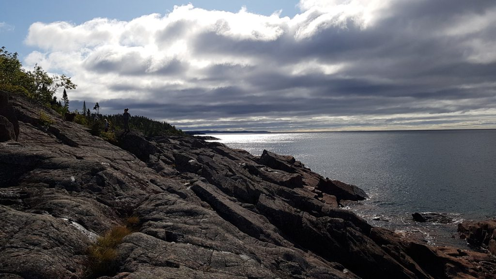 Lake Superior large rocks along the lake shore