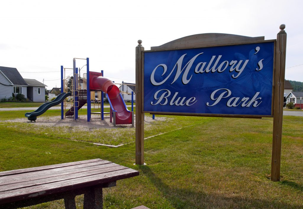 Children's park with a sign reading Mallory's Blue Park