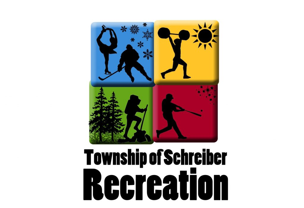 The Schreiber Recreation Logo, Four colored blocks and the words, Live it Breathe it