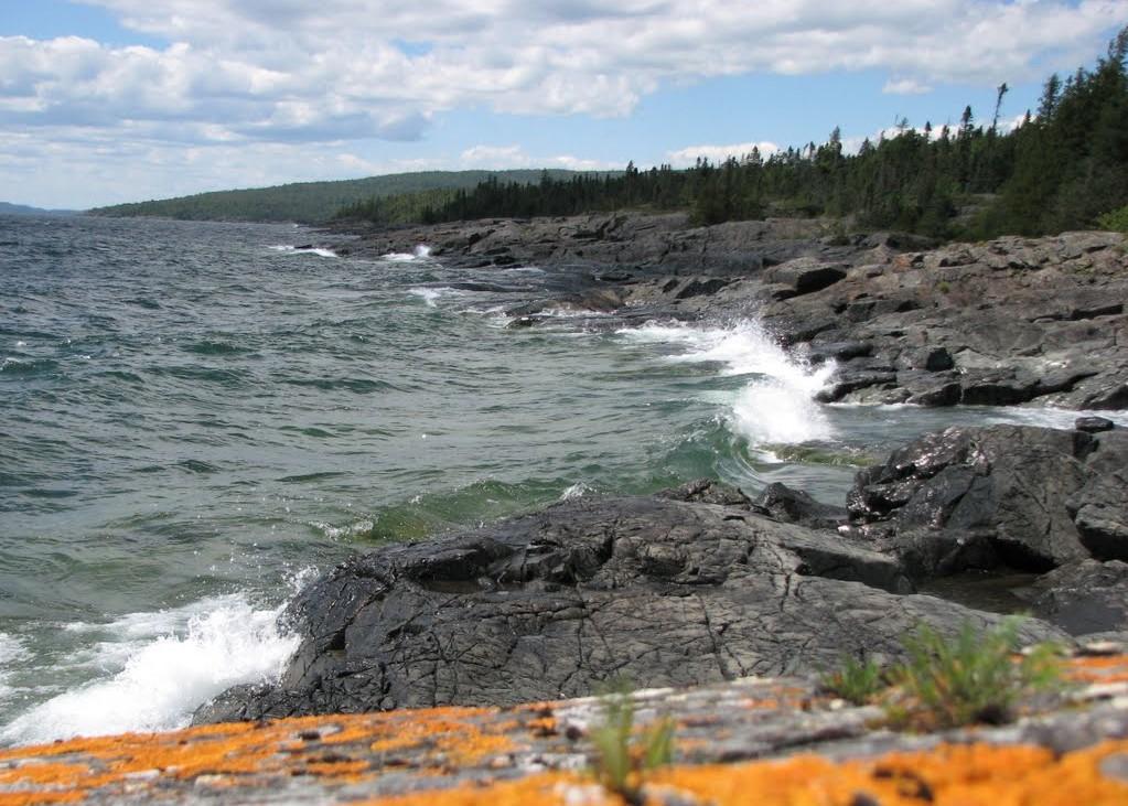 Water hitting rocks at Schreiber Beach