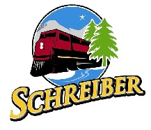 Township of Schreiber Logo, Red Train with green trees