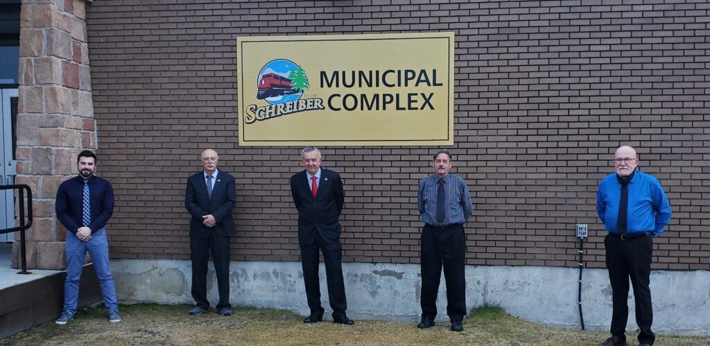 Township of Schreiber Municipal Council. Mayor Kevin Mullins, Deputy Mayor Dan McGrath, Councillor David Mauro, Councillor Doug Sales, and Councillor Douglas Stefurak.